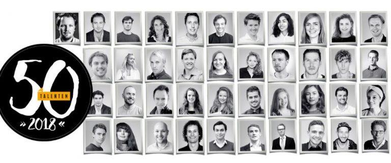 Portretten van de 50 jonge talenten van 2018 volgens het FD