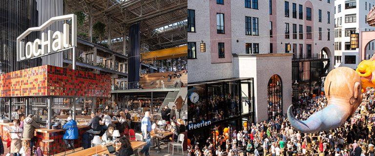 Collagefoto met een linkerdeel dat het interieur van de Tilburgse Lochal toont en een rechterdeel dat de feestelijke opening van NS-station Heerlen toont.