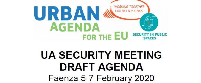 Decoratief beeld met het logo van de Urban Agenda en daaronder de tekst 'UA Security Meeting Draft Agenda'