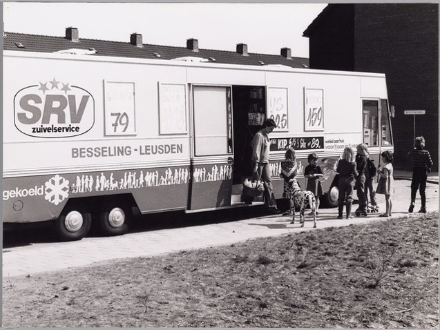 Zwartwit foto van SRV-wagen