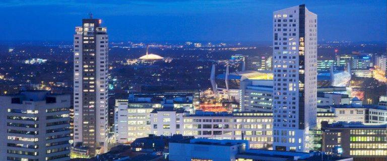 Decoratieve foto met de skyline van Eindhoven
