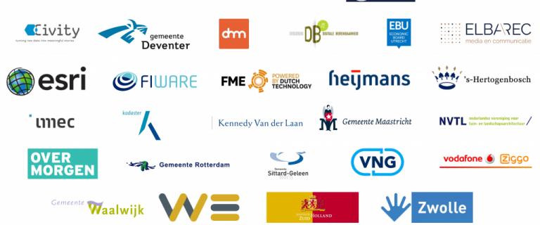 Logo's van de deelnemende partners aan de City Deal Een slimme stad