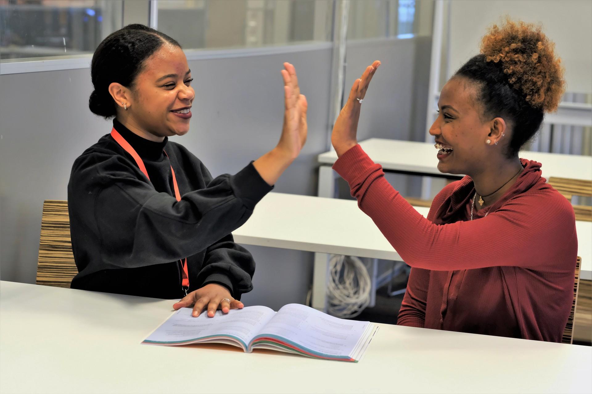 Een mentor aan het werk met een leerling.