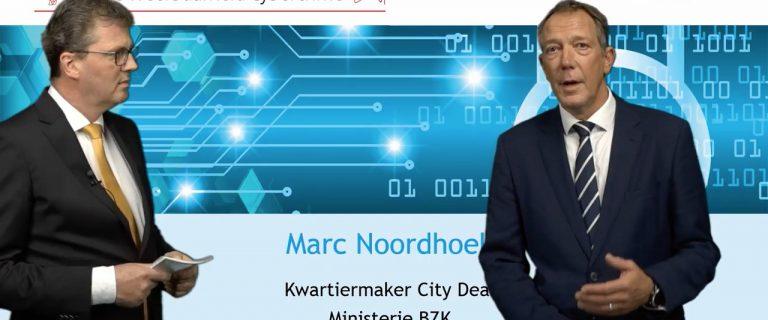Kwartiermaker Marc Noordhoek (rechts) licht de City Deal toe tijdens het Webinar